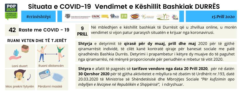 Situata e COVID-19 Vendimet e Këshillit Bashkiak DURRËS