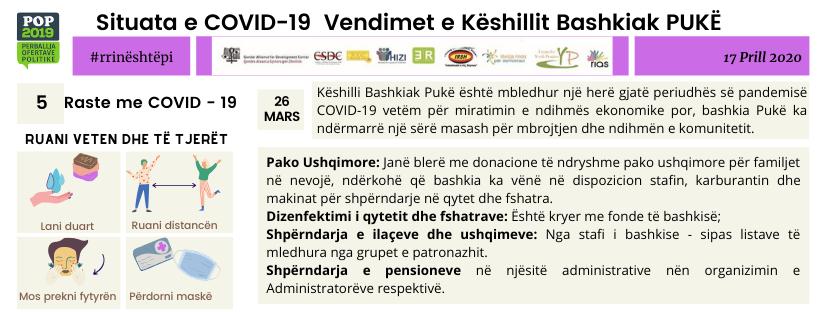 Situata e COVID-19 Vendimet e Këshillit Bashkiak PUKË