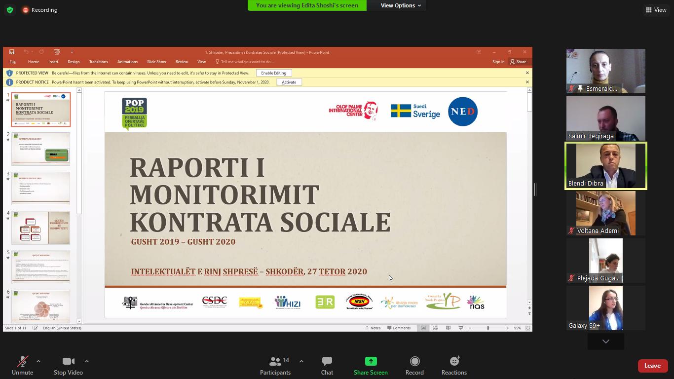 Prezantimi i Raportit një vjeçar – Kontrata Sociale POP Bashkia Shkodër